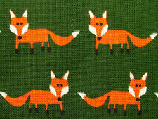 Mr Fox On Woodland Green Fabric - Curtain Upholstery Quilting Cushions Crafts