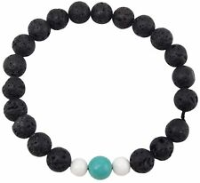 Volcanic Natural Lava, Turquoise, and Conch Yoga Wrist Mala Bracelet CL-4