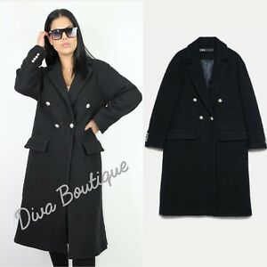 Zara BLACK DOUBLE-BREASTED TWEED COAT WITH BUTTONS Size S