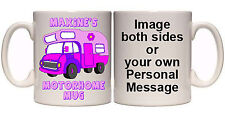 PINK MOTORHOME CARAVANNER PERSONALISED MUG (V54) OTHER COLOURS ALSO AVAILABLGIFT