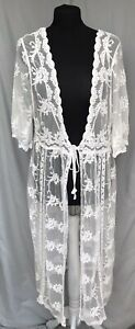 Klasics M/L Creamy White Embroidered Long Maxi Boho Gypsy Kimono Beach Cover-up