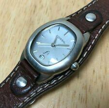 Vintage Fossil ES-9743 Lady Wide Bund Band Analog Quartz Watch Hours~New Battery