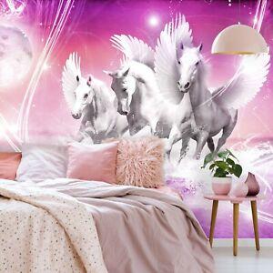 VLIES FOTOTAPETE Pferde Pegasus Einhorn rosa Wasser TAPETE MURAL (589FW)