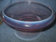 """Fostoria Glass Mid-Century 9"""" Dia Seascape Pink Opalescent Footed Bowl Eames Era"""