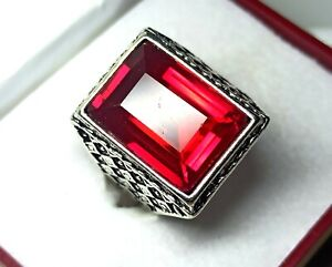 Sterling Silver 60.10 Cts Charming Red Ruby Men's Ring Size 10 US R-3