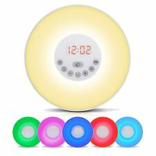 Wake-up Light Sunrise Alarm Clock LED FM Radio Bedside Night Lamp 7 Colors
