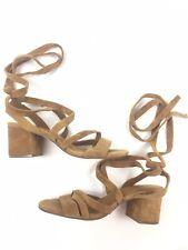 Gap Women's Size 6 Block Heel San Honey Suede Brown Heeled Sandals