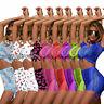 2020 Women Fluorescent Short Sleeve Bodycon Playsuit Mini 2 Piece Clubwear Dress