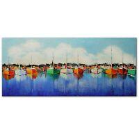 100% Handgemalt Acryl Gemälde handgemaltes Wand Bild Kunst Leinwand Hafen