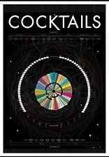 "Framed Pop Chart Lab Alcohol Mixer Cocktails Poster Print Wall Art Bar 27 x 39"""