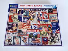 NEW White Mountain Jigsaw Puzzle RED WHITE BLUE 1000 Piece 24 X30 America USA