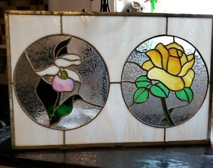 """Stained Glass Window Panel yellow roses & white Iris approx size 22.5x 14.5"""""""