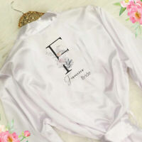 Personalised Initial & Name Wedding Bride Bridesmaid Mother Robe Bridal Gown