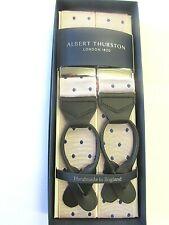 ALBERT THURSTON LEATHER END BRACES PINK & NAVY BLUE SPOT