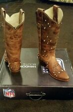 Houston Texans Ladies Brown Leather Boots size 6.5 Fancy Stitched Bling Crystals