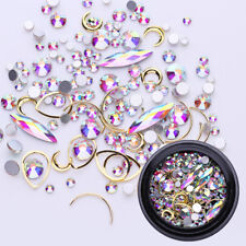 Nail Art Rhinestones AB Color Acrylic Alloy Stud Glitter 3D Decorations Stickers