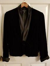 Carmen Marc Valvo Blazer Velvet Jacket 14 Black Fully Lined Tie Front
