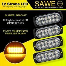 4x Amber 12 LED Car Truck Emergency Beacon Warning Hazard Flash Strobe Light