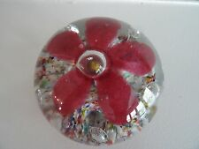 Vintage Art Glass Confetti Frit Flower Paperweight Controlled Bubble Hand Blown
