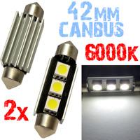 2 LAMPADINE SILURO 42mm 6000k LED SMD 3x5050 BIANCO luce CANBUS Auto Targa 2D11