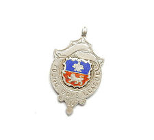 Antique Edwardian B'Ham 1906 925 Silver ENAMEL ALBERT WATCH FOB MEDAL 10.6g