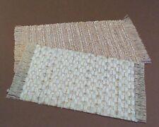 Dollhouse Miniature 1:12 scale 2 small self fringed rug multi shades cream/tan