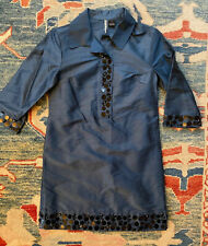 Mac & Jac Size 6 Blue 100% Silk Beaded/Sequin 3/4 Sleeve Mini Dress TUNIC