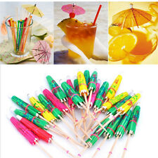 50pcs 3D Exotic Drinking Straws Bar Party Umbrella Cocktail Parasol Sticks decor