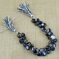 265.50 CTS / 8 INCHES NATURAL DRILLED RICH BLACK ONYX UNTREATED BEADS STRAND