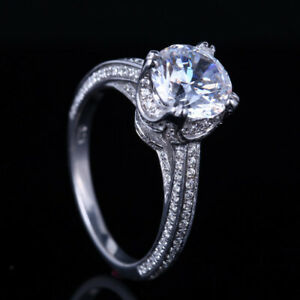 2ct Round 8mm Flawless Cubic Zirconia Engagement Gift Ring Solid 10K White Gold