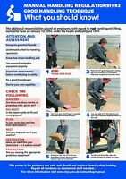 Health and Safety Manual Handling A2 POSTER / SIGN Ref: HS102 420 x 594mm