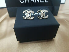 black-white crystal CC Stud Earrings Silver With Box