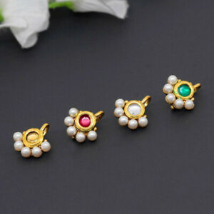 Indian Handmade Gold Plated Multi Color Kundan Nose Pin Combo Of 4 Pieces
