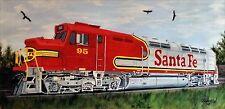 TRAIN SANTA FE RAILROAD=Orig. Oil painting by=Orphie Barella