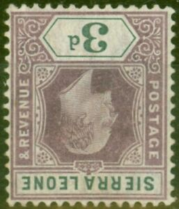 Sierra Leone 1904 3d Dull Purple & Grey SG91w Wmk Inverted Fine Mtd Mint