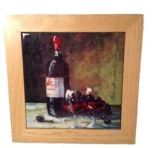 Ceramic Trivet Wine Bottle Wood Art Bar Wall Hanging