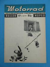 Fachzeitschrift MOTORRAD ROLLER MOPED 17 -1957 PUCH 250 SGS,