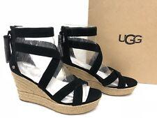 Ugg Australia Raquel Platform Espadrille Sandals Suede Tassels 1019895 Black