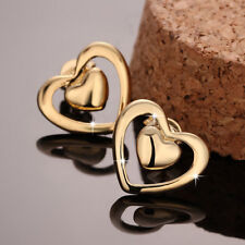 Wholesale 18K Yellow Gold Filled Hollow Love Heart Stud Earrings Gift