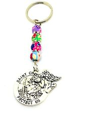 St Christopher & Guardian Angel Keyring, driving test lucky charm talisman Gift