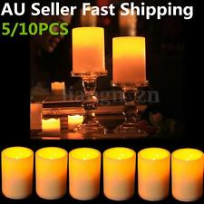 10Pcs Big LED Flameless Flickering Pillar Candles Battery Operated Timer Light