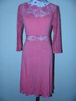 Neues Crilia Damen Kleid T-Shirtkleid Spitze Gr. L Orange 3/4 Arm NEU/OVP