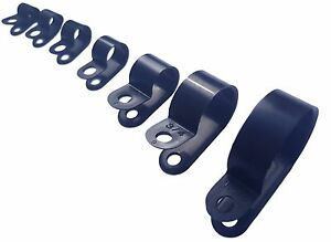 Black Nylon P Clips - Fasteners For Clamps, Tubing, Sleeving Etc.