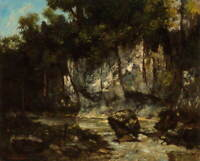 Gustave Courbet Landscape with stag Giclee Art Paper Print Poster Reproduction