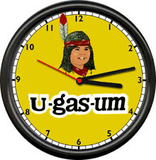U-Gas-Um Retro Vintage Native Indian Gas Station Service Pump Sign Wall Clock