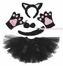 Halloween Party Black Cat Kid Headband Ear Claw Paw Tail Bow Gauze Skirt Costume