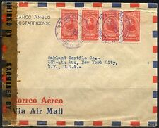 COSTA RICA ANGOL BANK  CENSORED COVER TO NY  UNITED STATES