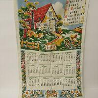 Vintage 1970 Bless This House Prayer Tea Towel Linen Cloth Decorative Calendar
