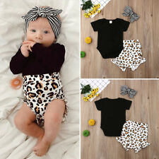 de07a22a97 UK Toddler Kids Baby Girl Infant Clothes Romper Tops Leopard Print Pants  Outfits
