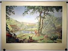 VINTAGE 1950 LITHOGRAPH PRINT T.M. CLELAND 'HOLIDAY' HARRIS OFFSET PRESS TM ART